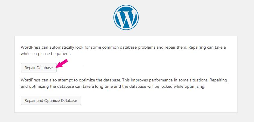 Error Establishing a Database Connection Repair Database Step 1