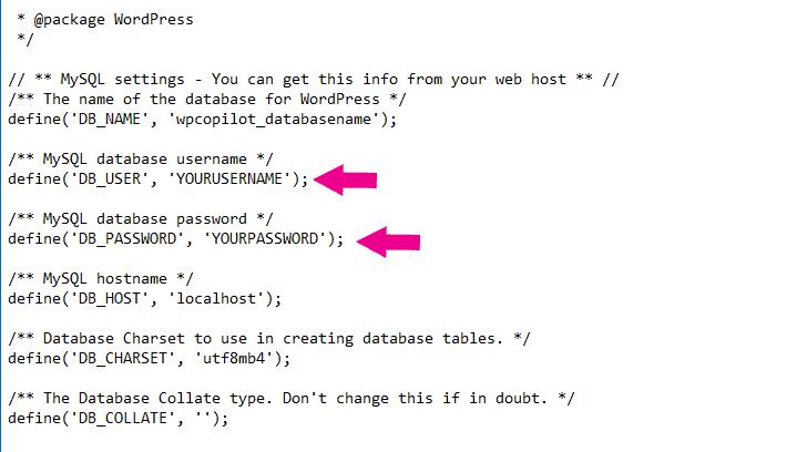 Error Establishing a Database Connection WP Config