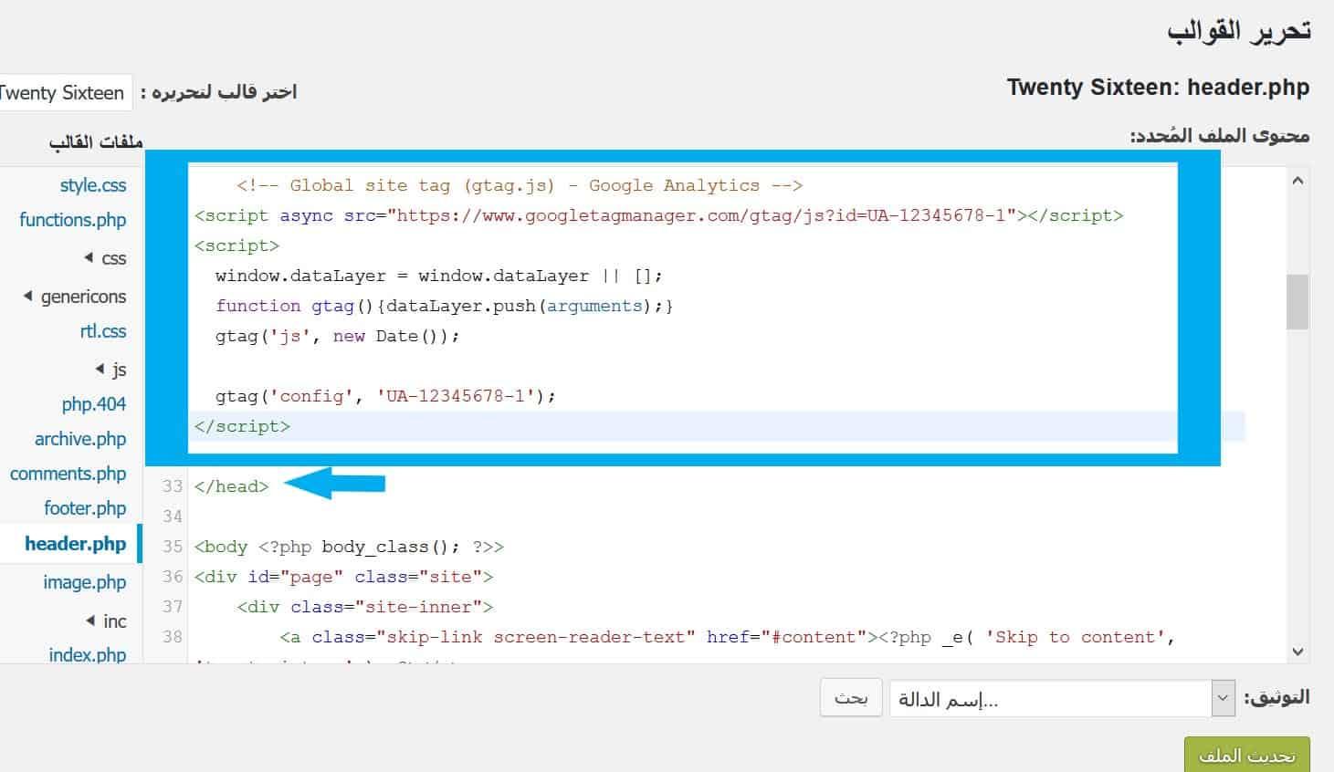 Insert Google Analytics to Header WordPress