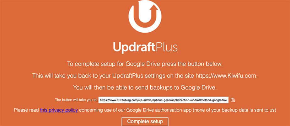 UpdraftPlus Google Drive connection