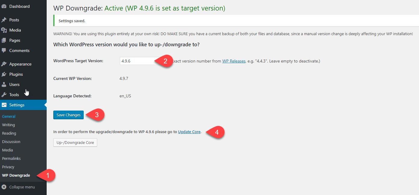 إضافة WP Downgrade